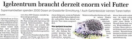1. Dezember 2018   Hannoversche Allgemeine   Igelzentrum braucht derzeit enorm viel Futter