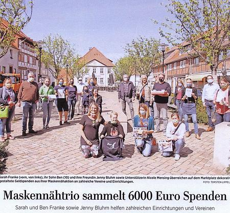 12. Mai 2020 | HAZ - Laatzen | Maskennähtrio sammelt 6000 Euro Spenden