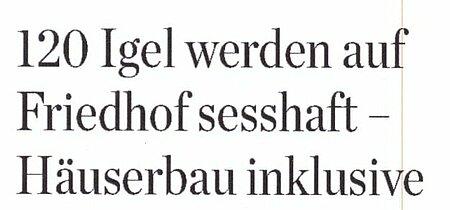 25.05. 2021   Hamburger Abendblatt   120 Igel werden auf Friedhof sesshaft